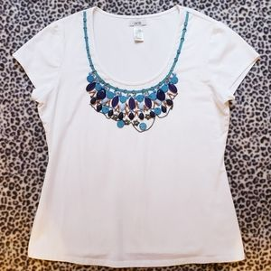 Cache Embellished Beaded White Top, Size L